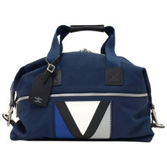 Louis Vuitton LV Cup Gennaker Blue Canvas Boston Travel Bag + Strap