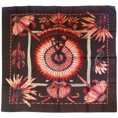 "Hermes ""Brazil"" Brown Silk Scarf  by Laurence Bourthoumieux"
