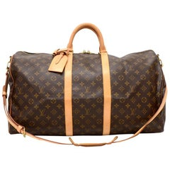 Louis Vuitton Keepall 55 Bandouliere Monogram Canvas Duffel Travel Bag + Strap