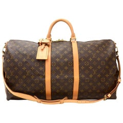 Vintage Louis Vuitton Keepall 55 Bandouliere Monogram Canvas Duffel Travel Bag +