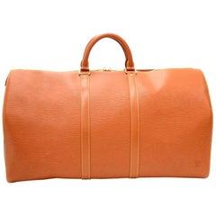 Louis Vuitton Keepall 55 Brown Cipango Gold Epi Leather Duffle Travel Bag