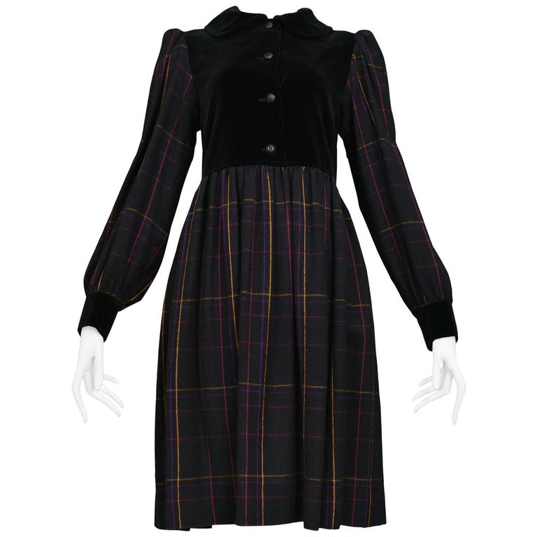 Vintage Yves Saint Laurent Black Plaid & Velvet Smock Dress Circa 1970's