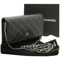 CHANEL Caviar Wallet On Chain WOC Black Shoulder Bag Crossbody SV