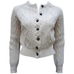 Chanel Handknit Ivory Wool Cardigan Sweater Winter Collection, 1999