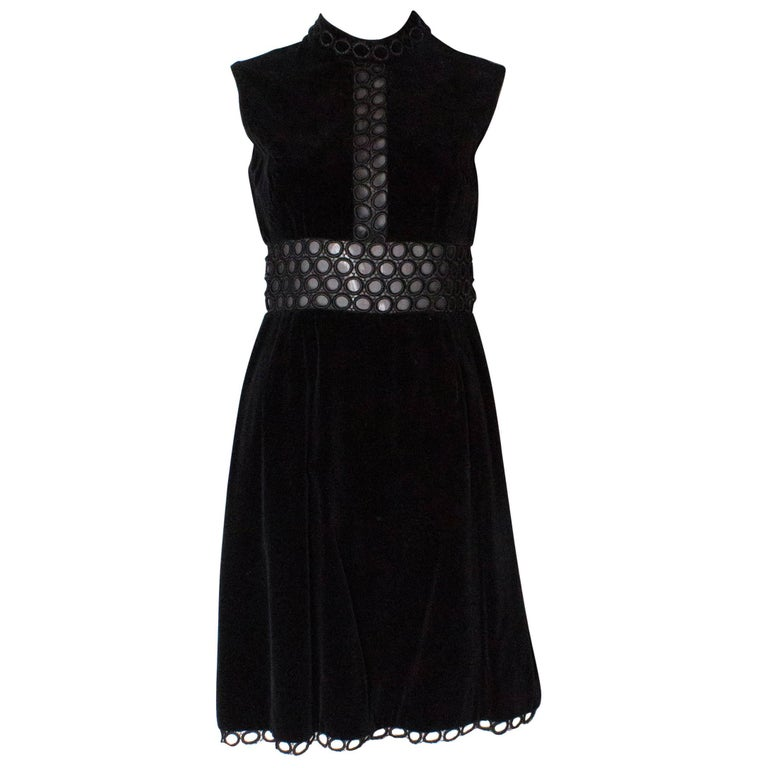 Susan Small Black Velvet Cocktail Dress