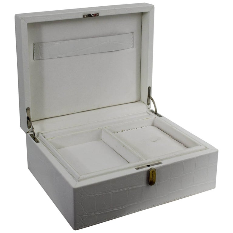 2011 Fendi White Fake Croco Jewlery Box