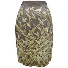 Gianfranco Ferre Italian Ocher Yellow Silk Skirt Hand Embroidered with Raffia