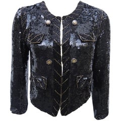 Black hand Sequined and Beaded Jacket