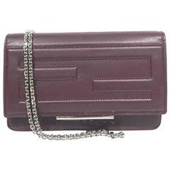Fendi Tube Wallet On Chain Cross Body Bag - Burgundy