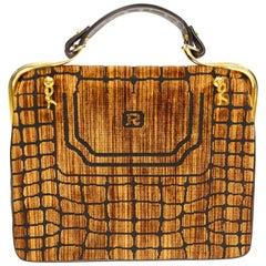 1960s Roberta di Camerino Amber Reptile Cut Velvet Handbag