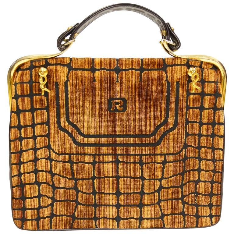 1960s Roberta di Camerino Amber Reptile Cut Velvet Handbag For Sale