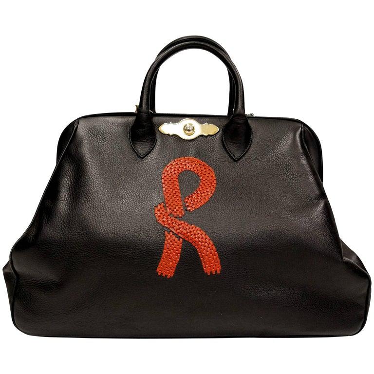 Roberta Di Camerino Black Leather Doctor Bag For