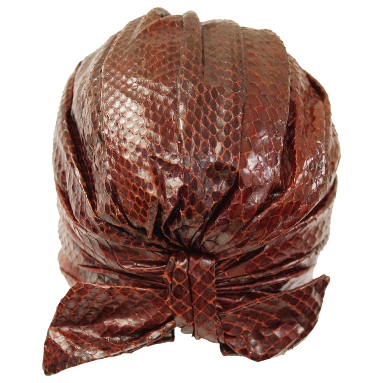 Neiman Marcus Custom Sienna Snakeskin Turban, 1950s  For Sale