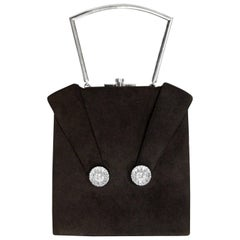 Rare 1940s Eisenberg Rhinestone Black Ultra Suede Handbag