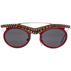 2012 Prada Runway Red Cat-Eye Amber Crystal Sunglasses