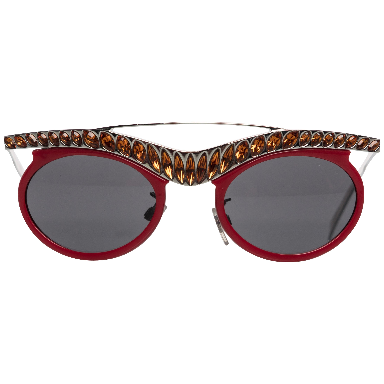 a3f830680c1f 2012 Prada Runway Red Cat-Eye Amber Crystal Sunglasses at 1stdibs