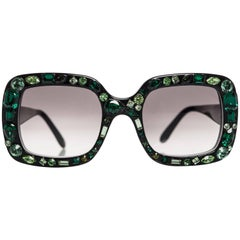 2009 Lanvin Emerald Jeweled Sunglasses