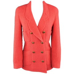 Chanel Jacket - Size 4 Coral Wool Boucle Double Breasted Gold Button Jacket