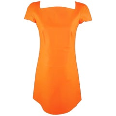 RALPH LAUREN Collection Size 4 Neon Orange Leather A Line Dress