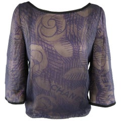 CHANEL Blouse - Size 6 Purple & Beige Camellia Chiffon Overlay Silk 3/4 Sleeve