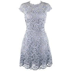 VALENTINO Size 4 Light Blue Silk Lace A Line Cocktail Dress