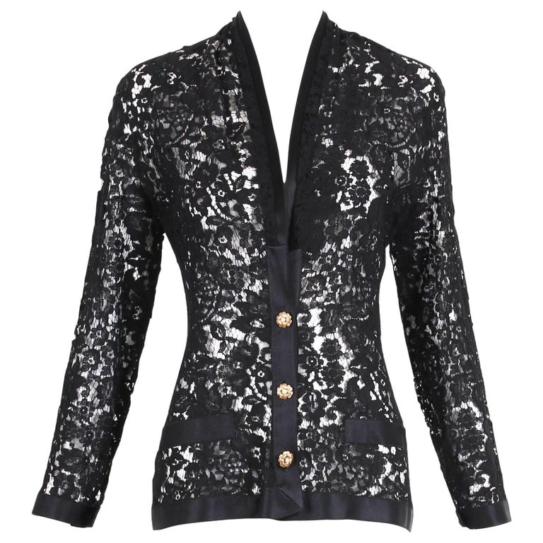 Chanel Black Lace Jacket with Black Silk Trim and Gold tone Camellia Buttons