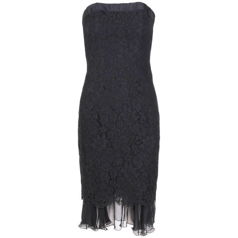 Vintage Chanel Black Lace Strapless Mini Cocktail Dress For Sale