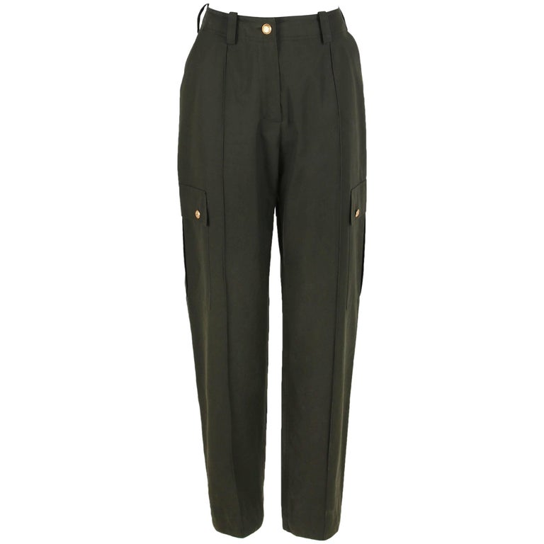 Chanel Olive Green High-Waisted Cargo Pants With Gold toned CC Logo Buttons
