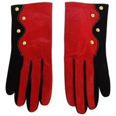 Christian LaCroix Red & Black Studded Gloves