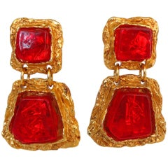 1980s Christian LaCroix Candy Red Statement Earrings