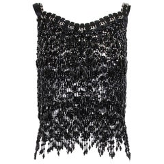 Paco Rabanne Black Sleeveless Disc and Beaded Top