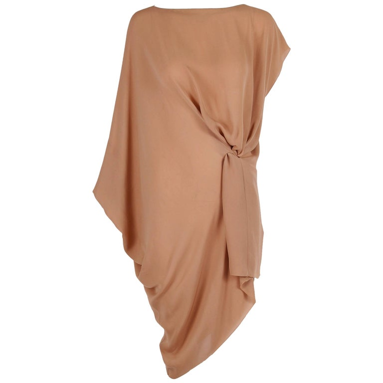 Margiela Silk Single-Shoulder Dress Tunic Top For Sale