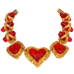 1980s Christian La Croix Candy Red Heart Necklace