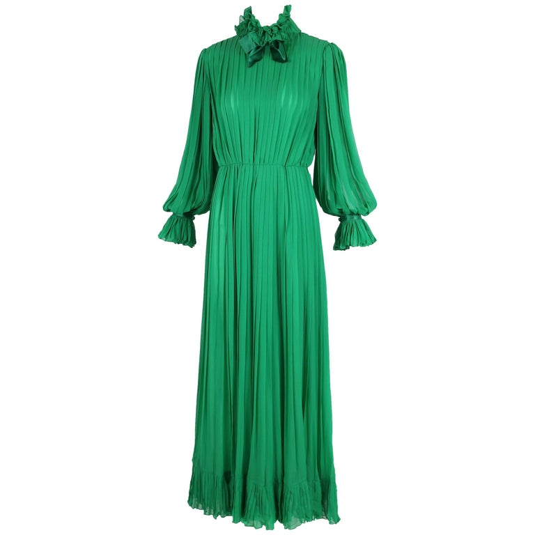1970's Bill Blass Green Silk Chiffon Pleated Evening Gown w/Silk Trim  For Sale