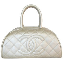 Chanel Metallic Quilted Caviar Bowler Bag
