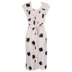 Vintage Fendi White Silk Sleeveless Day Dress w/Black Dice Print & Belt