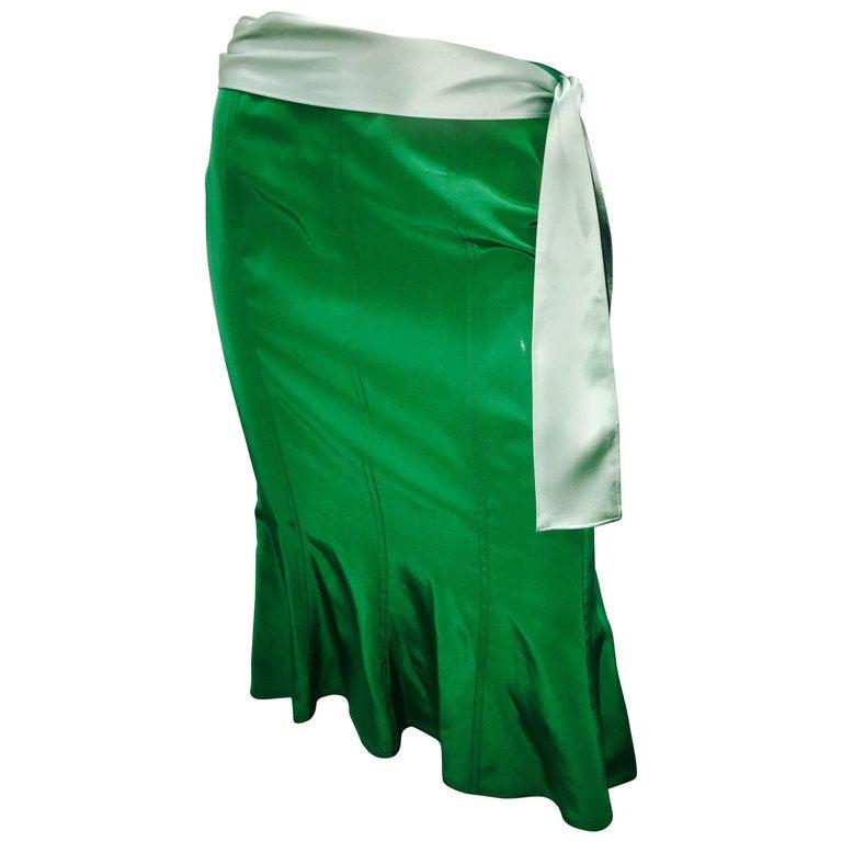 Tom Ford for Yves Saint Laurent silk skirt with Sash