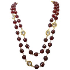 Vintage Signed Chanel 70s Cranberry Gripoix Glass and Crystal Sautoir Necklace