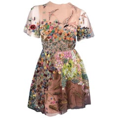 Valentino Size 2 Silk Floral Bird Embroidered Tulle Cocktail Dress