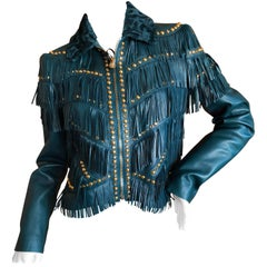 Versace Blue Fringe Stud and Jeweled Lambskin Leather Jacket NWT $9960