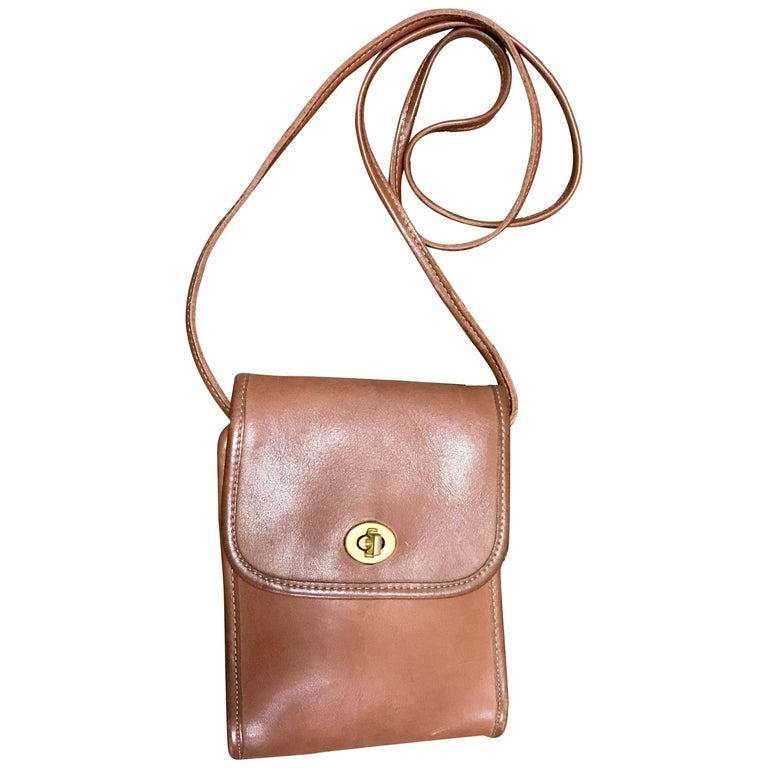 Vintage COACH genuine brown leather mini shoulder bag vertical rectangular shape