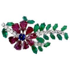 Vintage Signed Christian Dior Germany Multi-Color Rhinestone Brooch