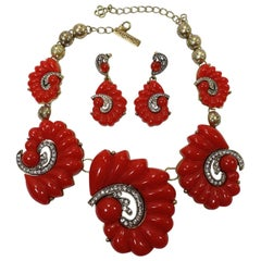 Authentic Oscar de la Renta Statement Red Shell Necklace & Earrings