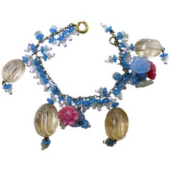 Famous RARE Bookpiece Early Miriam Haskell Glass Bead Drops Bracelet