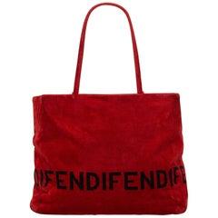Fendi Red Velour Tote Bag