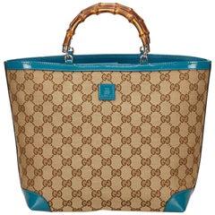 Gucci Brown Guccissima Bamboo Tote Bag