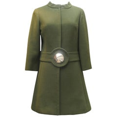 Pierre Cardin khaki green coat, 1960s