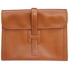 "Hermès ""Jige"" model clutch in tan togo leather"