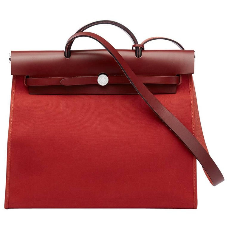 Hermes Rouge H Hunter Cowhide Leather and Rouge Venitienne Canvas  For Sale