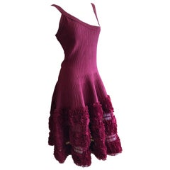 Azzedine Alaia Vintage Red Dress with Ruffle Sheer Full Skirt